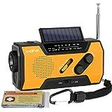 IntiPal 防災ラジオ ソーラー 手回しラジオ 2000mAH ライト 災害用 停電緊急対策 スマホ充電 iPhone、Android対応 電波強い AM/FM 電池式/充電式 ポータブル