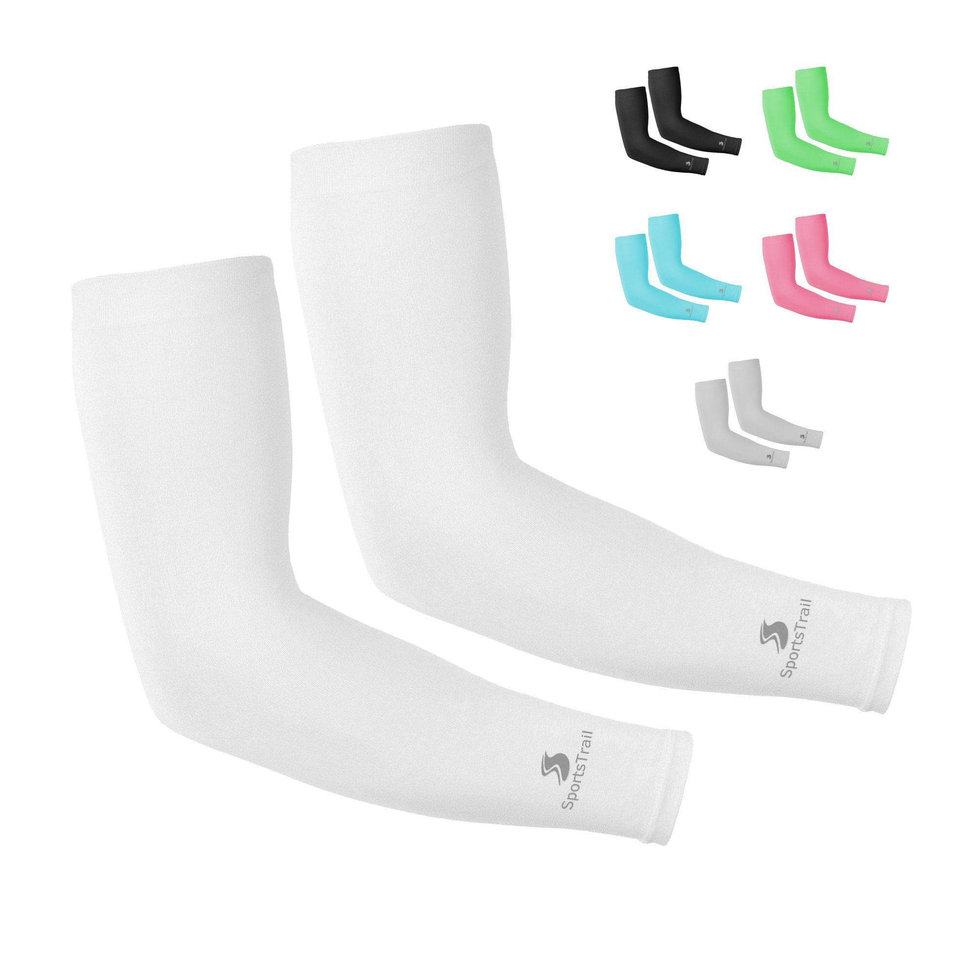 SportsTrail Arm Sleeves for Men & Women, Tatoo Cover up Sleeves to Cover Arms, 1 Pair (White)