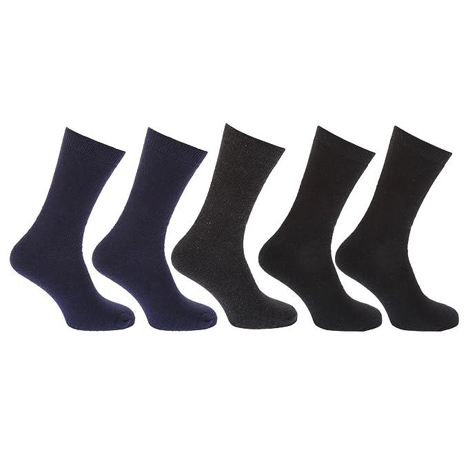 Calcetines térmicos lisos con alto porcentaje en algodón para hombre/ caballero - Pack de 5 pares de calcetines (39-45 EUR/Negro): Amazon.es: Ropa y ...