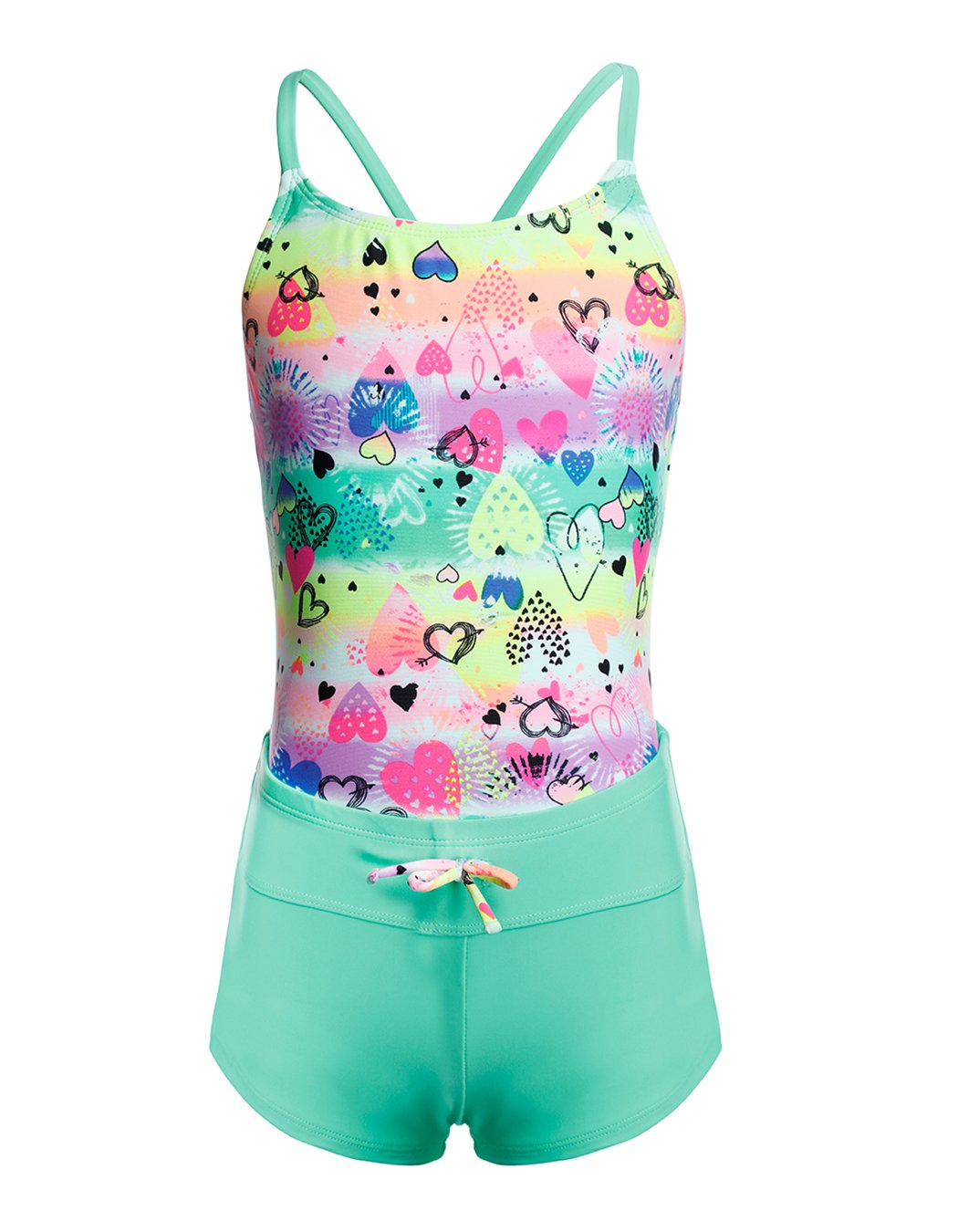 iDrawl Large Girls Two Pieces Tankini Set X Back Heart Printed Top with adjustable drawstring shorts Age 6 to 14