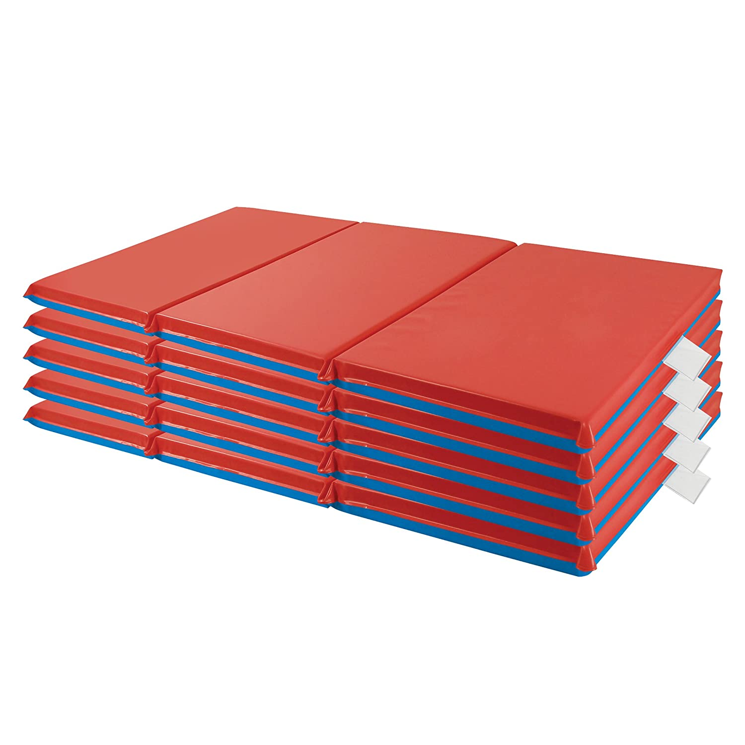 ECR4Kids Premium 3-Fold Daycare Rest Mat, Blue and Red, 1 Thick (5-Pack) 1 Thick (5-Pack) ELR-0574-CSPK