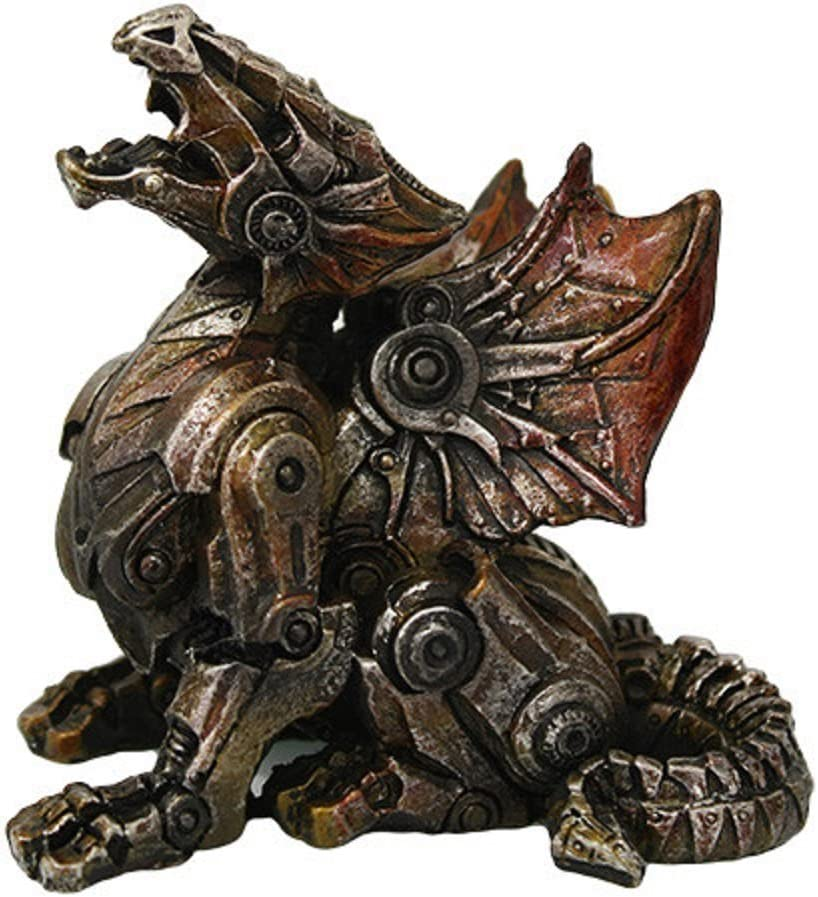 Steampunk Metal and Gears Dragon Figurine Mythical Fantasy Decoration Steam Punk