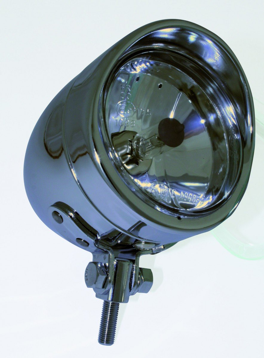 90mm H4 Scheinwerfer Chrom BULLET LONG mit Visier