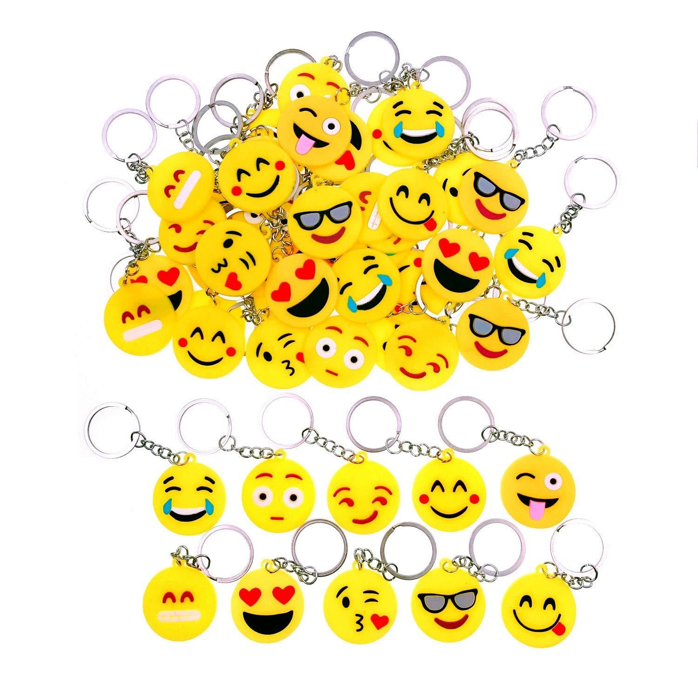 Jzk 50 X Emoji Porte Cles Emoticone Porte Cles Pour Cadeaux Anniversaire Des Enfants Remplisseurs De Sac De Fete Fete Des Enfants Merci Cadeau Porte Cles Bijoux Et Cosmetique