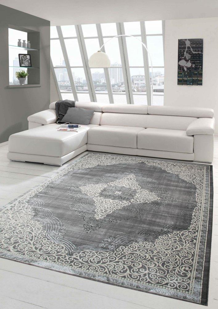 Designer und Moderner Teppich Kurzflor Orientteppich in Grau Beige Größe 200 x 290 cm