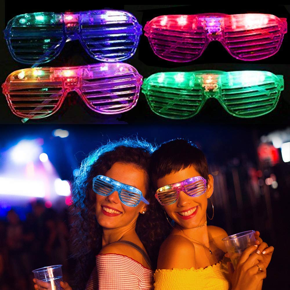TURNMEON 20 Pack LED Glasses,5 Color Light Up Plastic Shutter Shades Glasses Shades Sunglasses for Adults Kids Glow in the Dark Party Favors Neon Party Supplies Independence Day Glow Toy by TURNMEON (Image #7)