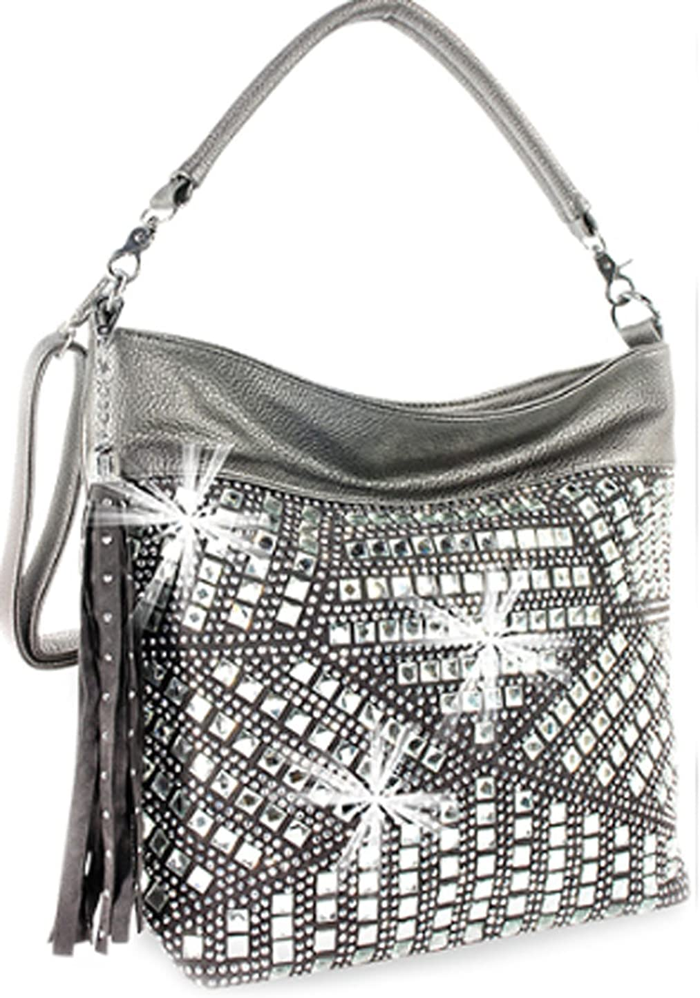 Zzfab Geometric Gem Sparkle Hobo Bag with Tassle Bling Cross Body