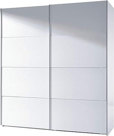 Medidas: 180 cm (ancho) x 63 cm (fondo) x 200 cm (alto).,Acabado en melamina blanco brillo.,Armario