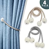 Goowin 4 Pack Curtain Tiebacks, Strong Magnetic Curtain Holdbacks Resin Pearl Decorative Curtain Tiebacks Rope Drapery Holdbacks for Curtain Ties & Décor, 19 Inch Long (Gray+Beige)
