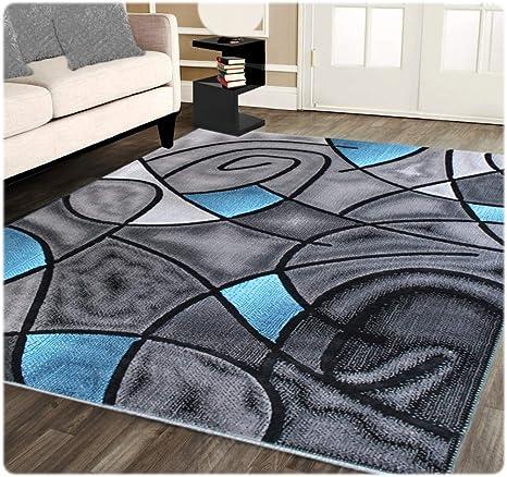 Amazon Com Masada Rugs Modern Contemporary Area Rug Blue Grey Black 5 Feet X 7 Feet Kitchen Dining