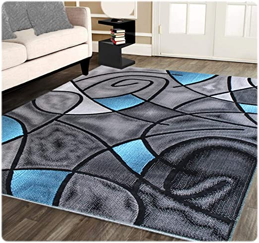 Masada Rugs Modern Contemporary Area Rug Blue Grey Black 5 Feet X 7 Feet Kitchen Dining