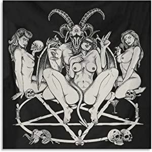 Skull Satanic Baphomet Goat Pentagram Lust God Naughty And Lovin It Cocktail Flesh Party Black And White Decor Poster Poster Decorative Painting Canvas Wall Art Living Room Posters Bedroom Painting 28