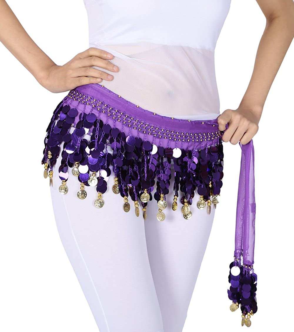 Astage Chiffon Belly Dance Coins Belt Hip Scarf