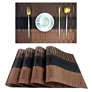pigchcy Placemats,Durable Placemats for Dining Table,Washable Woven Vinyl Kitchen Placemats Set of 4(Brown)
