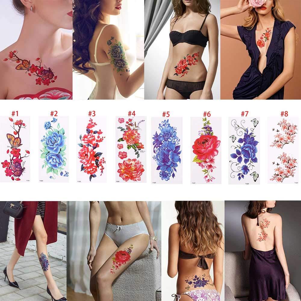 MRKAL 3D Realista Flor Rosa Sexo Impermeable Tatuajes Temporales ...