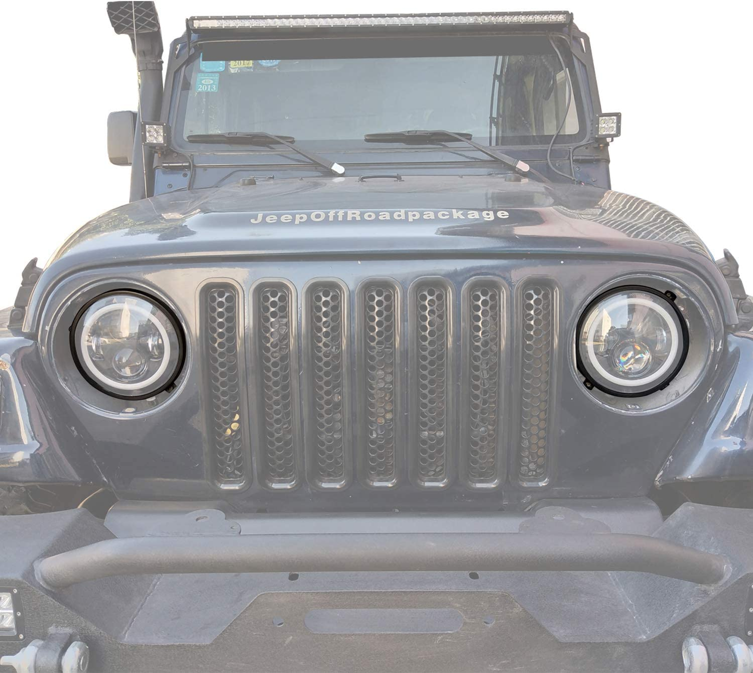Kutang Modified Jeep Wrangler 7 inch Round Headlight Mounting Bracket Rings in Black for 1997-2006 Jeep Wrangler TJ