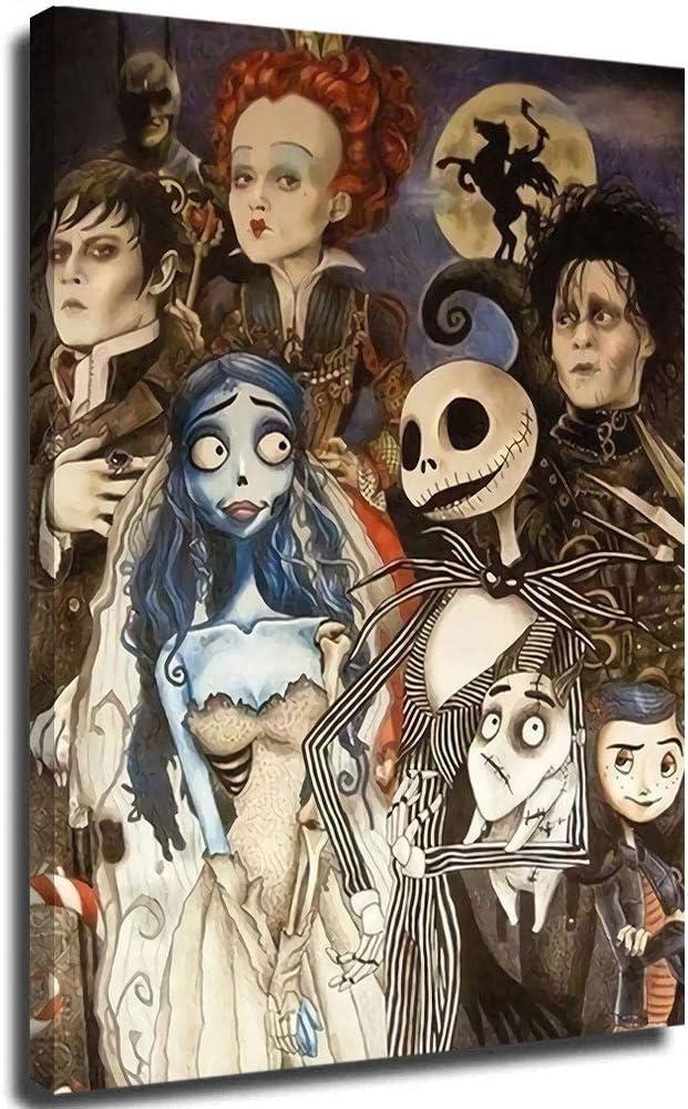 Hangquq Tim Burton Art, Tim Burton Film Character 3D Pinturas Vertical Wall Art Abstracto Lienzo Cuadros 45,7 x 61 cm