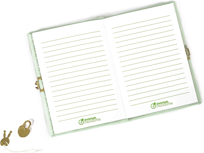 Avenue Mandarine CO196C Un journal intime fourrure 240 pages lign/ées 12,5x17 cm avec fermeture cadenas Chat
