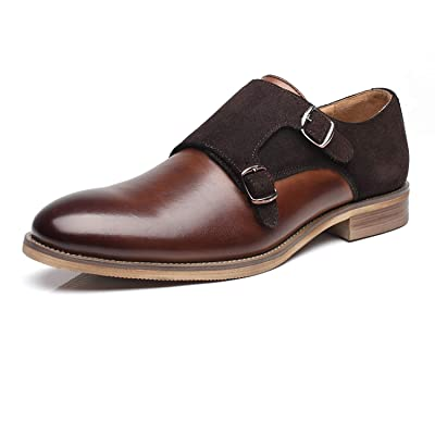 La Milano Patina Collection Leather and Suede Double Monk Strap Dress Shoe | Shoes