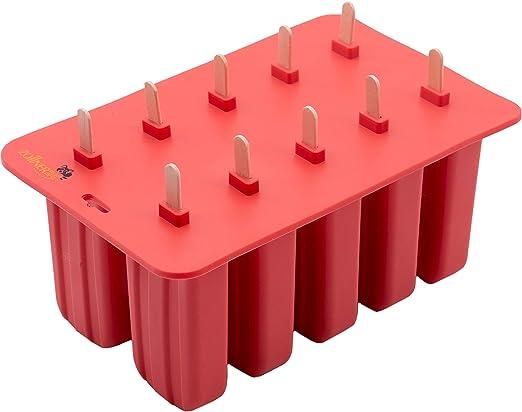 Zollner24 Molde de silicona para 10 helados o polos, con palitos ...