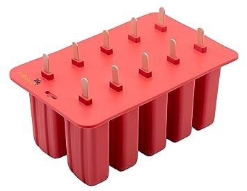 Zollner24 Molde para helados y polos, realizado en silicona, con palos de madera y tapa, antiadherente: Amazon.es: Hogar