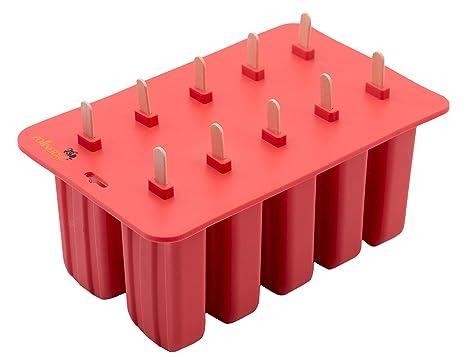 Zollner24 Molde para helados y polos, realizado en silicona, con palos de madera y