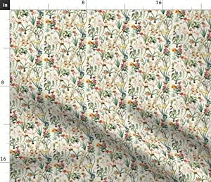 Spoonflower Fabric - Garden Dragonflies Vintage Watercolor Floral Birds Botanical Meadow Printed on Petal Signature Cotton Fabric by The Yard - Sewing Quilting Apparel Crafts Decor
