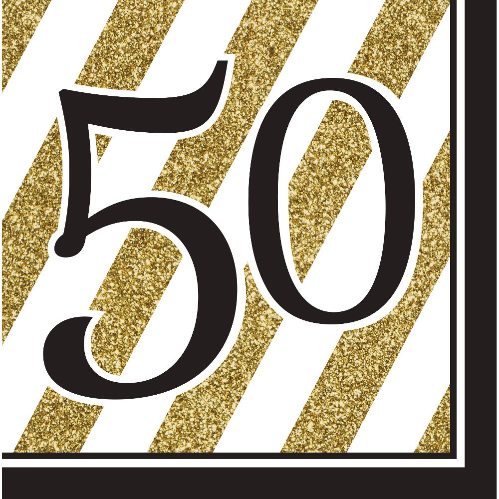 Pack of 192 Gold and White Striped with Black''50'' and Border 2-Ply Party Lunch Napkins