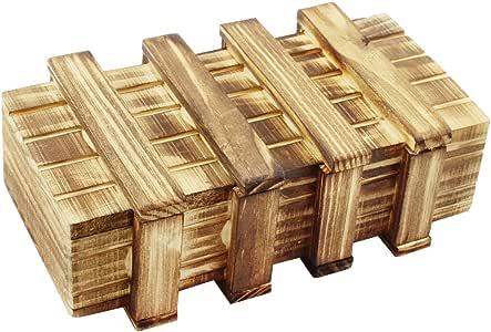 com-four® Caja mágica Universal - Caja mágica de Madera con Tapa - Caja Secreta y misteriosa - Cofre del Tesoro - Caja de Madera para Trucos: Amazon.es: Juguetes y juegos