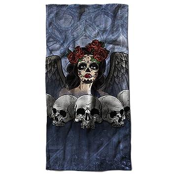 Calavera mal niña Horror Demonio Mal toalla de playa | Wellcoda, microfibra, multicolor, 50cm x 100cm: Amazon.es: Hogar