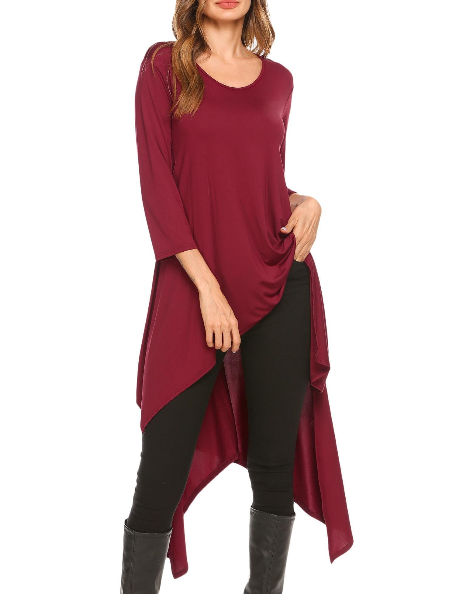 Mofavor Women's Casual Crewneck 3/4 Sleeve High Low Loose Swing T-Shirt Tunic