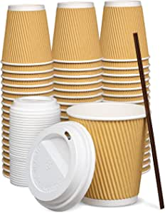 [50 Sets] 10 oz Insulated Ripple Paper Hot Coffee Cups With Lids