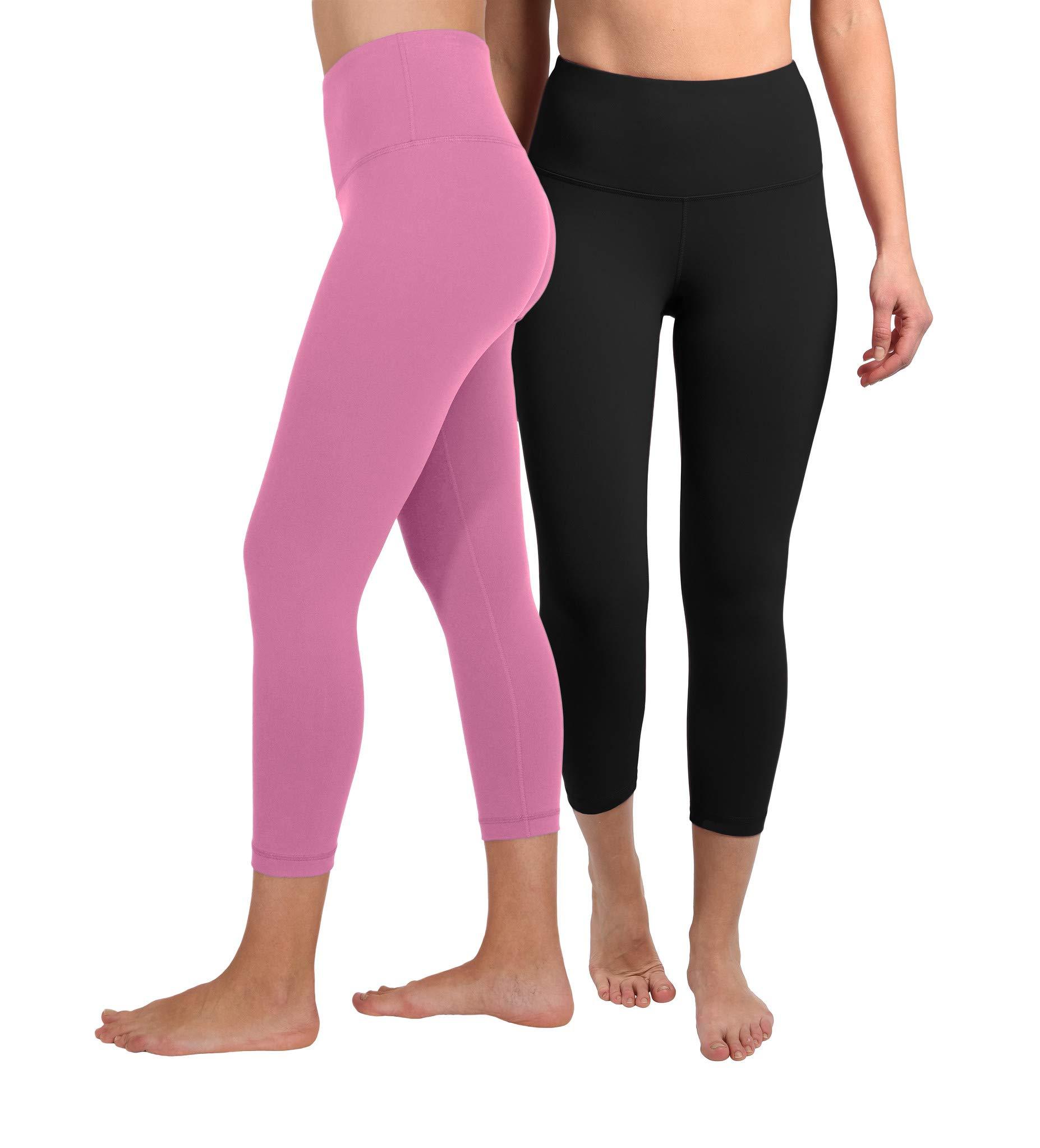 90 Degree By Reflex - High Waist Tummy Control Shapewear - Power Flex Capri - Black and Cuban Orchid 2 Pack - XS