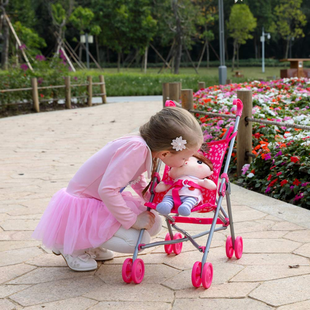 Learning Gift for Toddlers CUBY My First Baby Doll Stroller Doll Jogger Doll Toy Play Pram Stroller with Swiveling Front Wheels Pink Extra Tall 28 High
