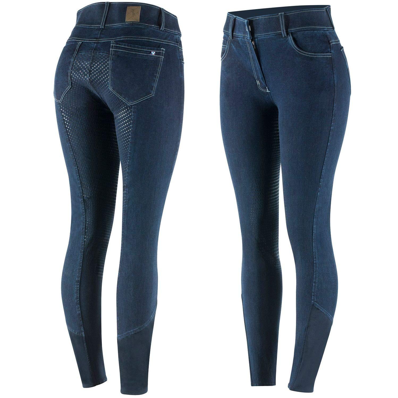 netproshop Damen Jeans-Reithose Strapazierf/ähiger Denim mit Silikon-Vollbesatz