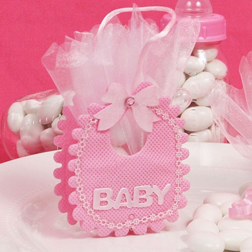 Amazon.com: Pink Baby Bib Shaped Favor Bags - Set of 12: Health ...