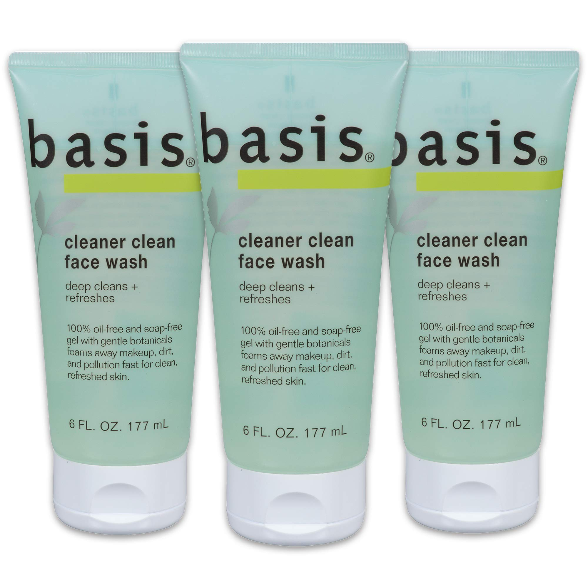 Basis Cleaner Clean Face Wash, 6 fl. oz. (Pack of 3) by Basis