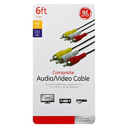 GE Composite Audio/Video Cable, 6ft. - Black