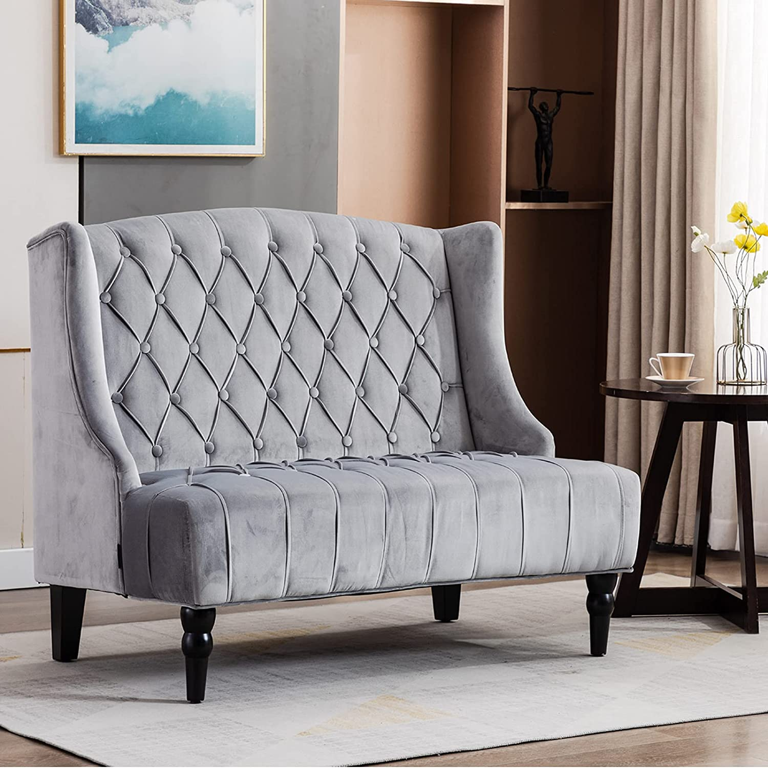 Artechworks Button-Tufted Velvet High-Back Club Loveseat, Living Room Accent Chair with Wing Back Wooden Legs, Mid-Century Modern Armless Chair, Grey
