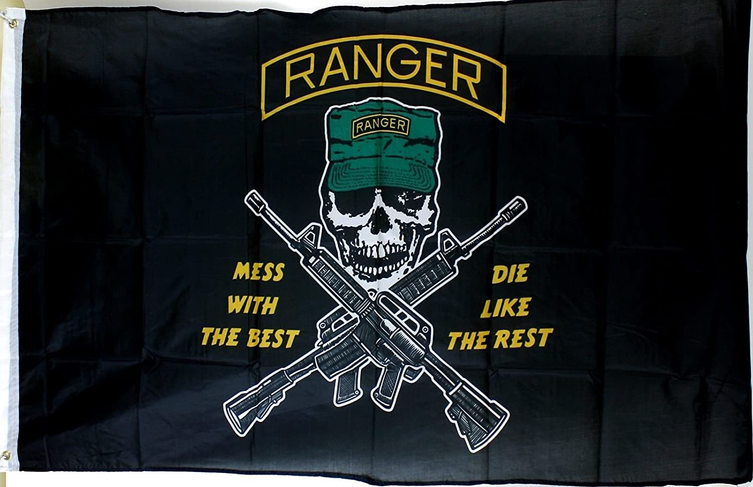 Ramson Imports of America 3'x'5' U.S. Army Ranger Flag - Mess with the Best Skull & Crossed Gun