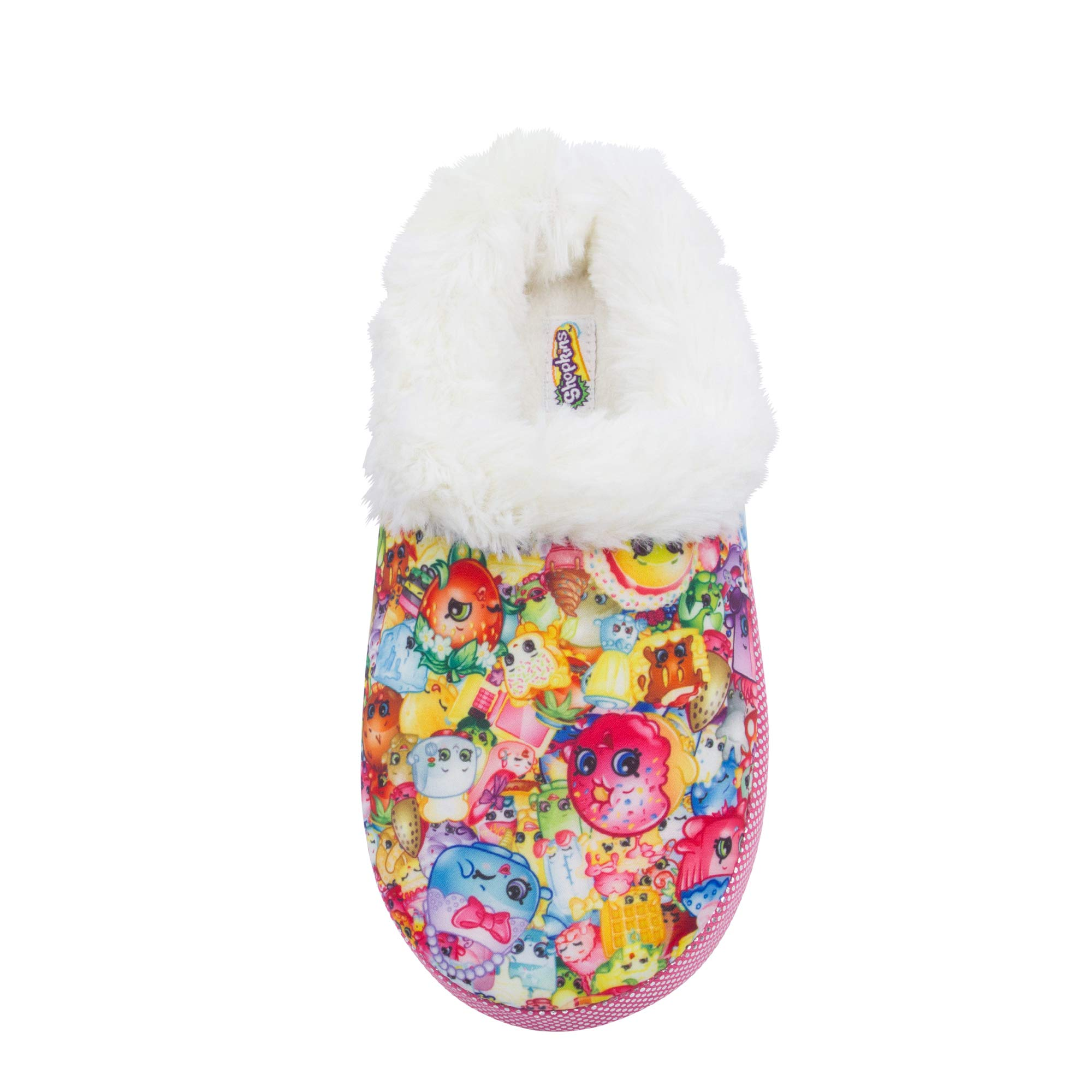 Shopkins Toddler Girls Round Toe Cushioned Clog Slippers with Plush Collar, Size 11/12
