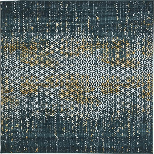 A2Z Rug Modern Abstract Teal 6' x 6' Monaco Collection Area rug - rugs for living room - rugs for dining room & bedroom - Floor Carpet
