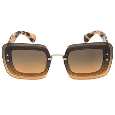 b1644c3b0688 Image Unavailable. Image not available for. Color  Miu Miu 01RS PC80A3  Transparent Tortoise Glitter 01RS Square Sunglasses Lens Ca