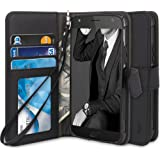 Moto X4 Case, TAURI [Stand Feature] [PU Leather] Protective Wallet Case [Wrist Strap] Flip Cover For Motorola Moto X4 - Black
