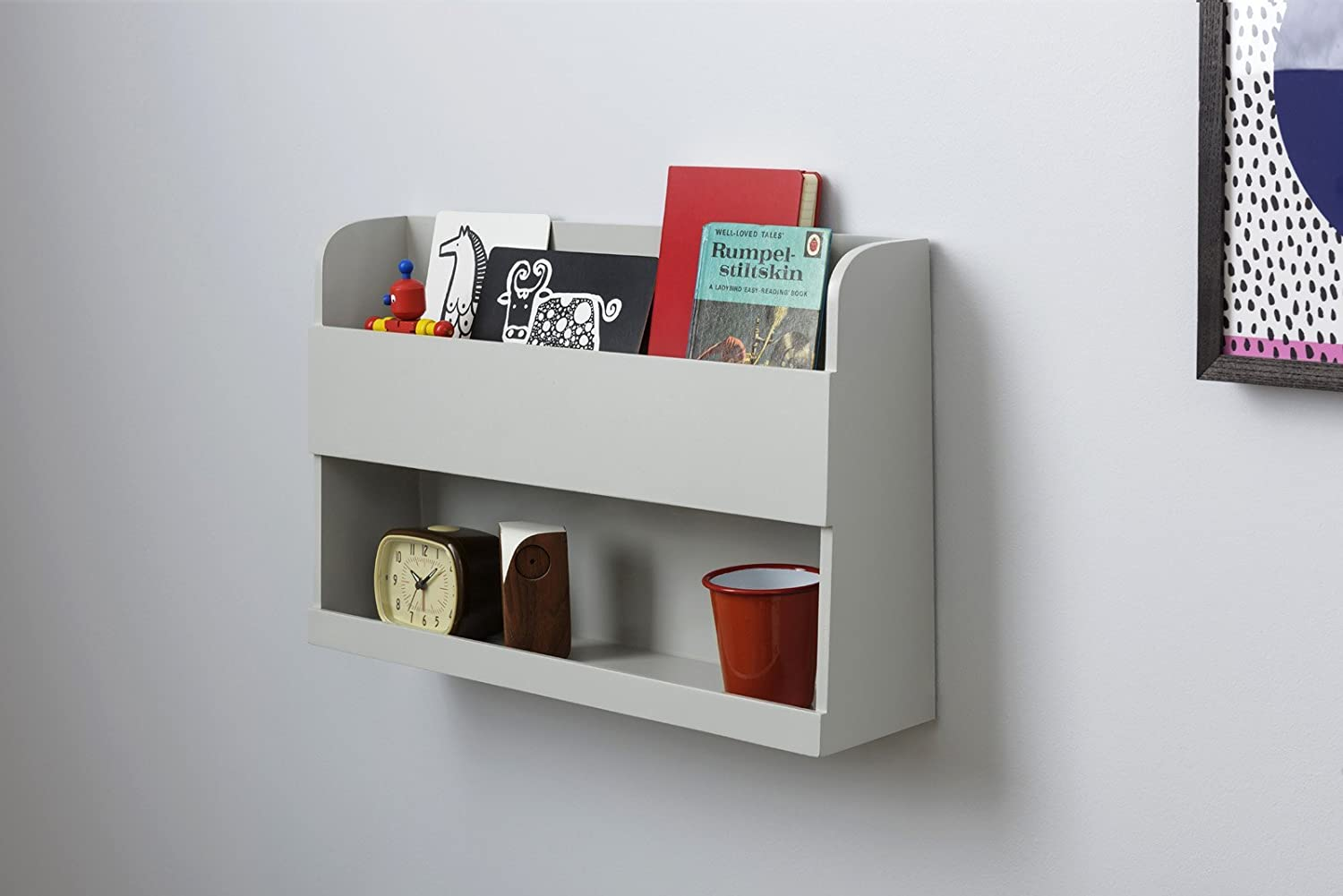 Tidy Books ® -The Original Bunk Bed Buddy™, Bunk Bed Shelf in Pale Grey. - Floating Shelves for Kids Storage next to Bunk Beds and Cabin Beds | ECO Friendly | HANDMADE | Wooden Shelves - 33 x 53 x 12cm