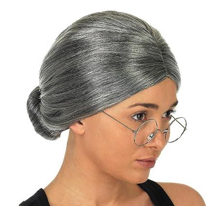venmo abuela peluca con bun disfraz de Halloween cosplay gris plata vieja dama de pelo corto