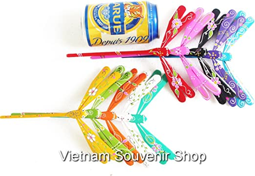 Set 50 Hand Carved Self Balancing Bamboo Dragonfly Decor 2.7/' inch Handmade