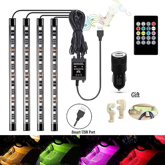 46 opinioni per LED Auto Interni, DRFLY 4 pezzi 48 LED luci Abitacolo Auto 8 Colori Auto Interno