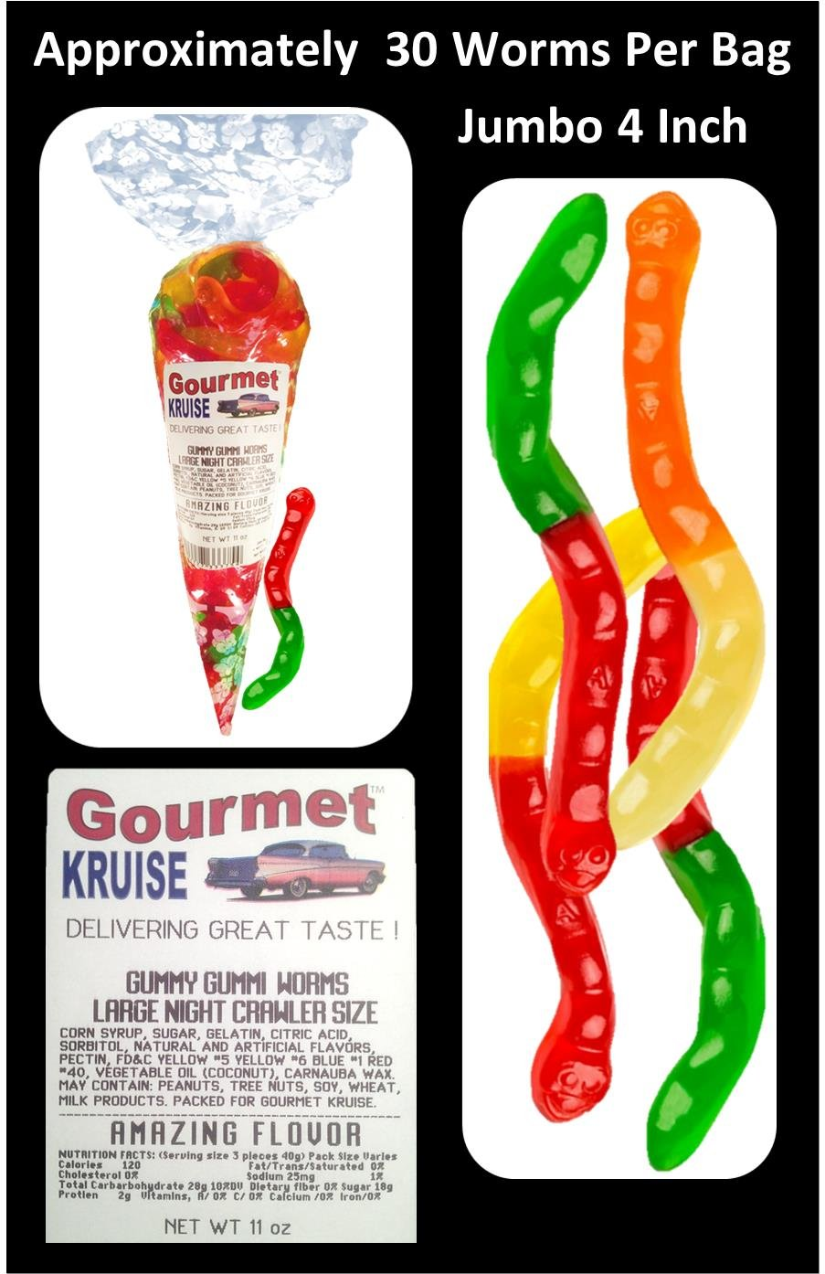 Amazon.com : Gummi Gummy Bears Albanese 12 Flavors-Bulk Candy 5lb Bag With Large Night Crawler Size Worms Gourmet Kruise Signature Gift Bag 11 OZ (NET WT 5 ...