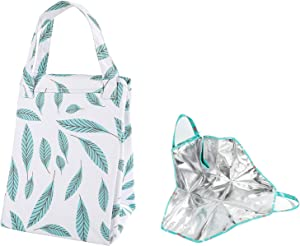 Lunch Bag Insulated Foldable Lunch Box Carrier for Hot or Cold Food, Lunch Tote Bag Handbag Container Bag for Potluck Parties Picnic Cookouts Work Hiking Beach Fishing (white)